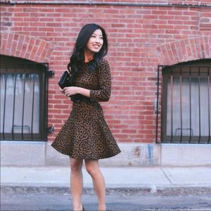 Loft Leopard Print Long Sleeve Drop Waist Dress